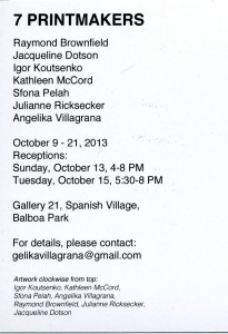 2013 gallery 21 show invitation back