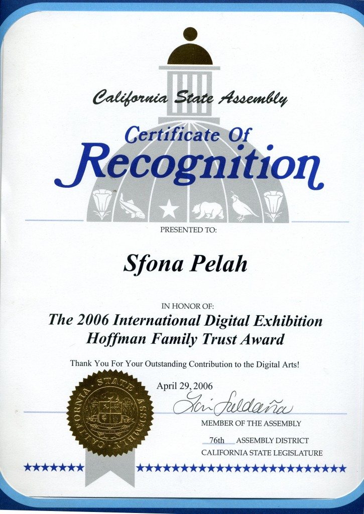 CA State Assembly Certificate of Recognition