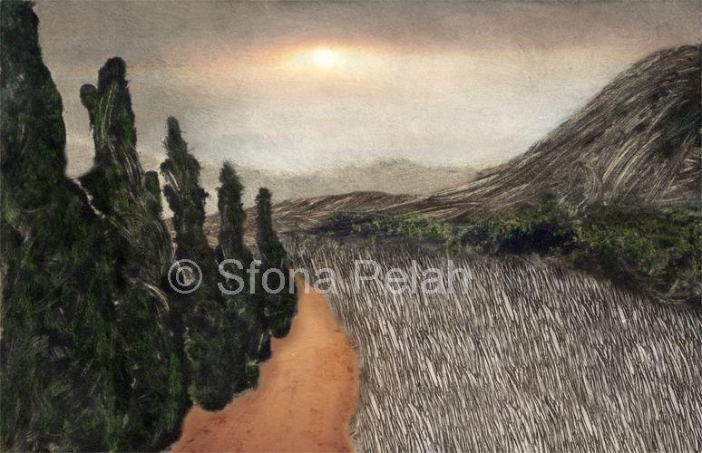 """Untitled"", (cypress trees), digital mixed media."