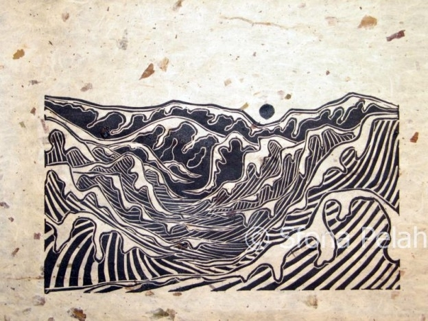 """Untitled"" (mountains), linoleum, Sfona Pelah"