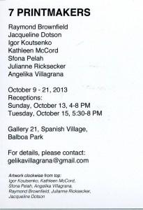 2013 gallery 21 show invitation back