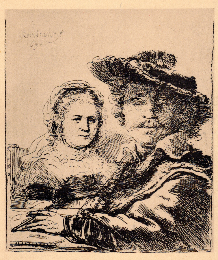 Rembrandt and Saskia, 1636 etching by Rembrandt van Rijn