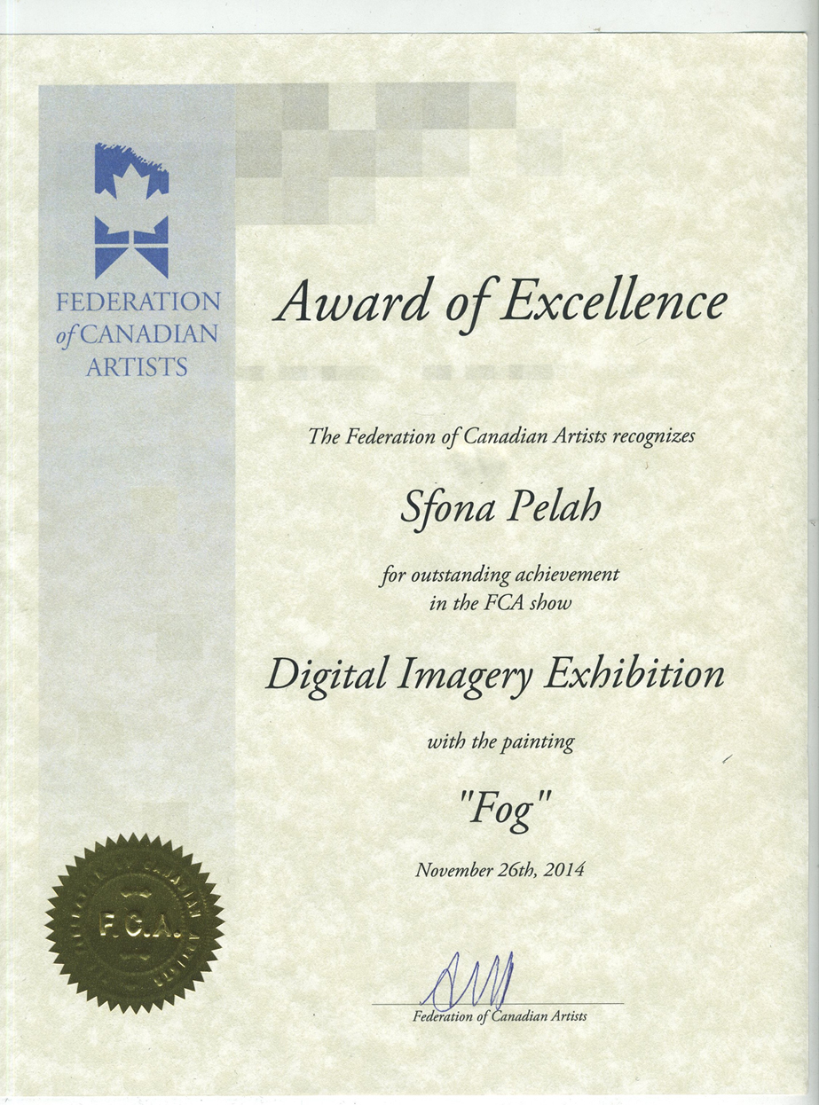 "Federation Of Canadian Artists Award of  Excellence for Sfona Pelah's ""Fog"""